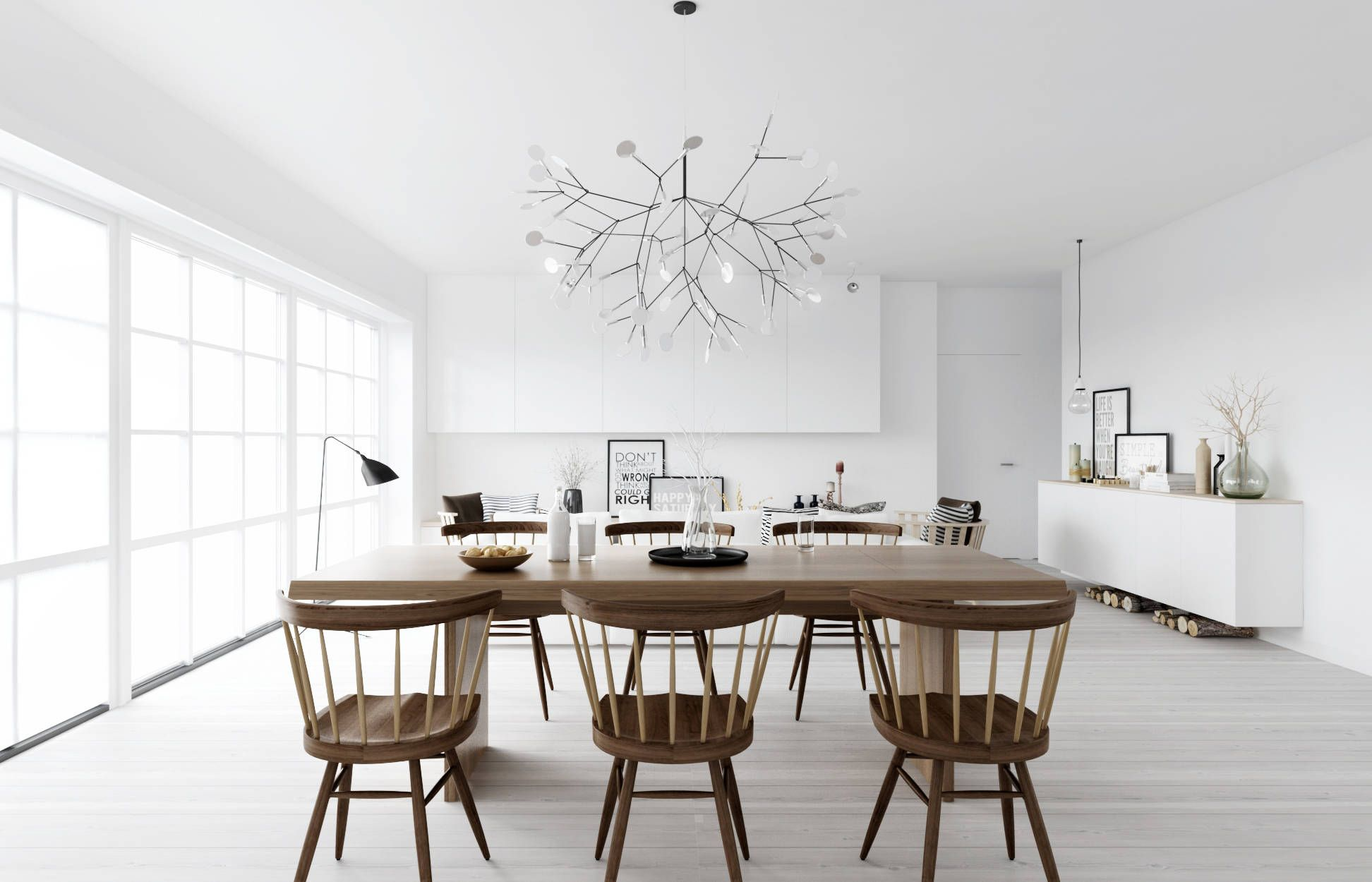 Atdesign wooden dining in monochrome nordic living minimalist christmas decor ideas visit diychristmasdecorations