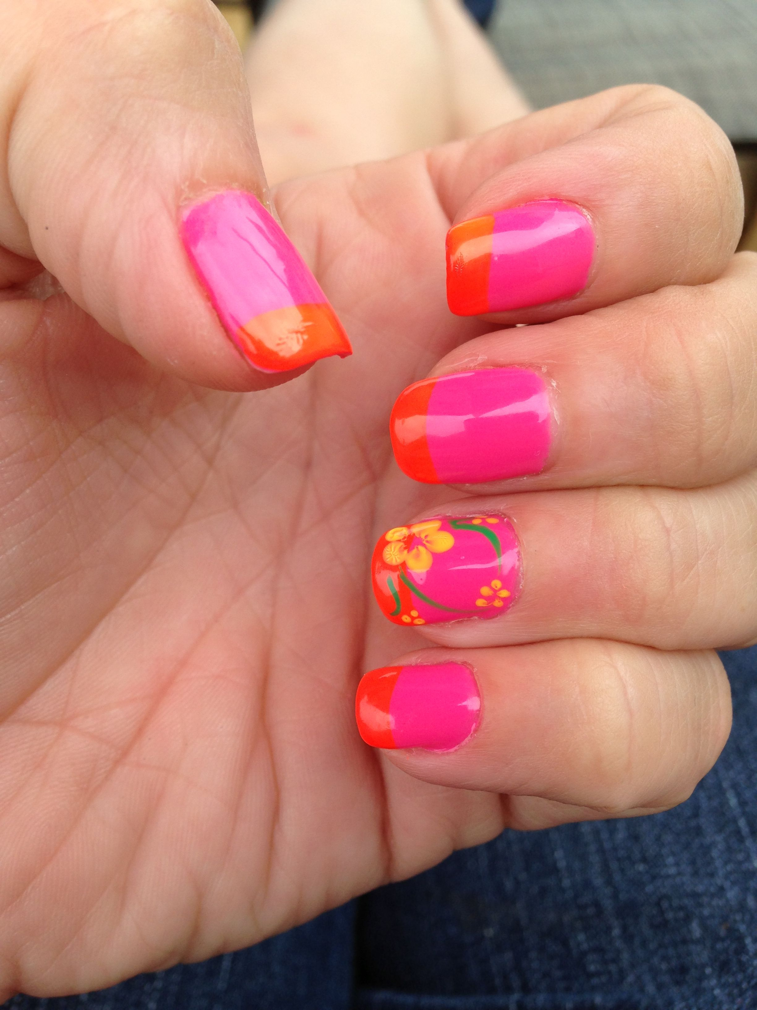 Luau nails summer. Just the pink nail and have the flowered nail ...