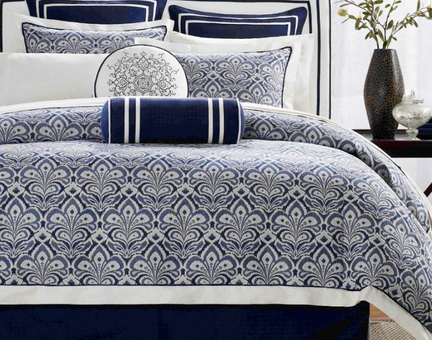 Duvet Beautiful Navy Blue And Grey Bedding Simple Classic Bedroom