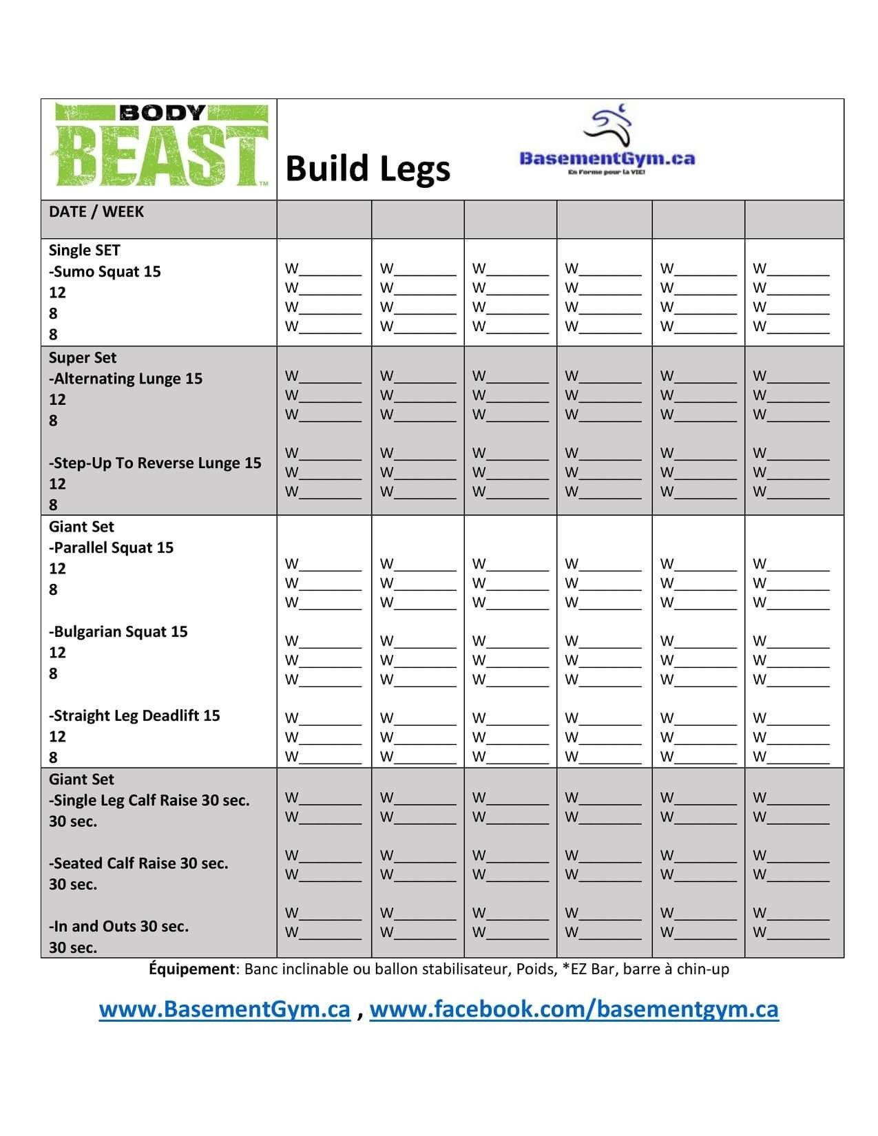 Body Beast Build Legs Worksheet