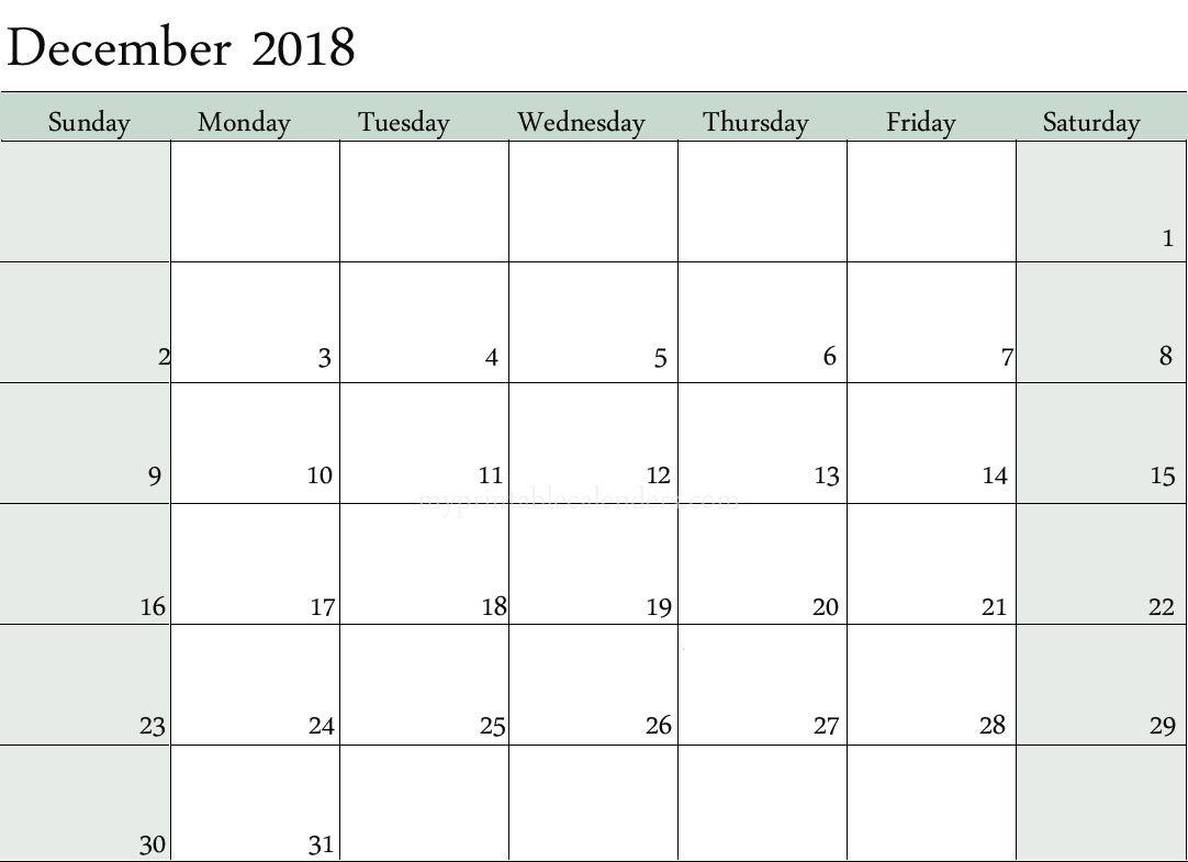 Blank Calendar December 2018 Editable