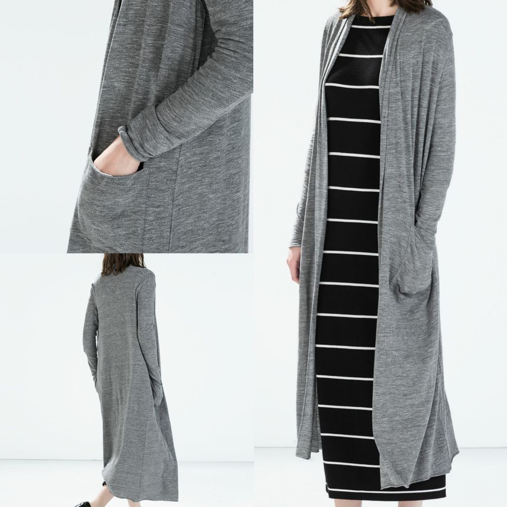 Nwt zara long cardigan 5584/348 aw14 gray grey size m, l | Long ...