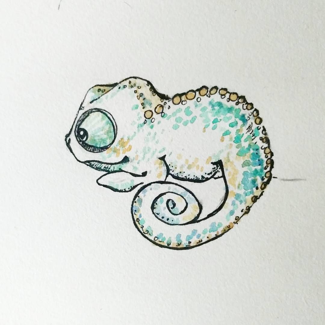 Chameleon Watercolor Tattoo: Pequeño Camaleón, Probando Diseños. Little Chameleon