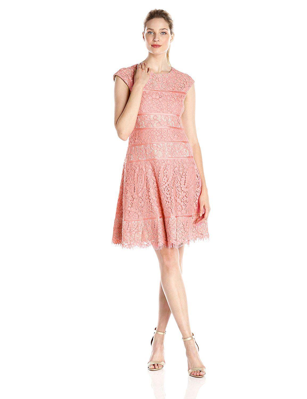 Alex Evenings Women's T Length Cap Sleeve Lace Dress with