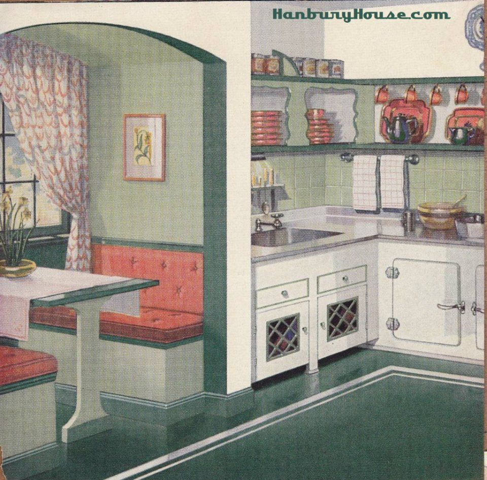 White and green and coral colored us kitchen with built in table