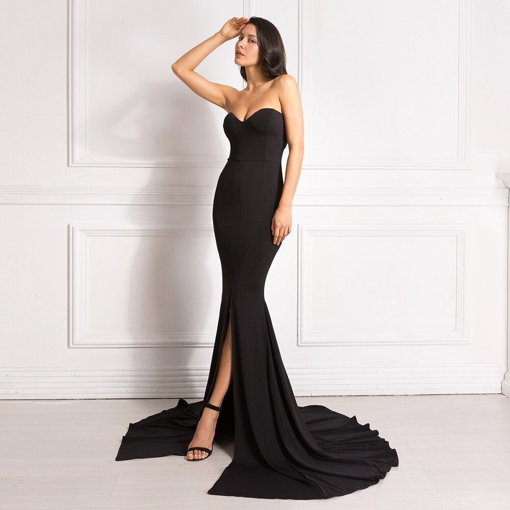 Strapless Padded Stretchy Mermaid Dress Trend Maxi Dress Prom Long Black Maxi Dress Red Evening Dress [ 1000 x 1000 Pixel ]