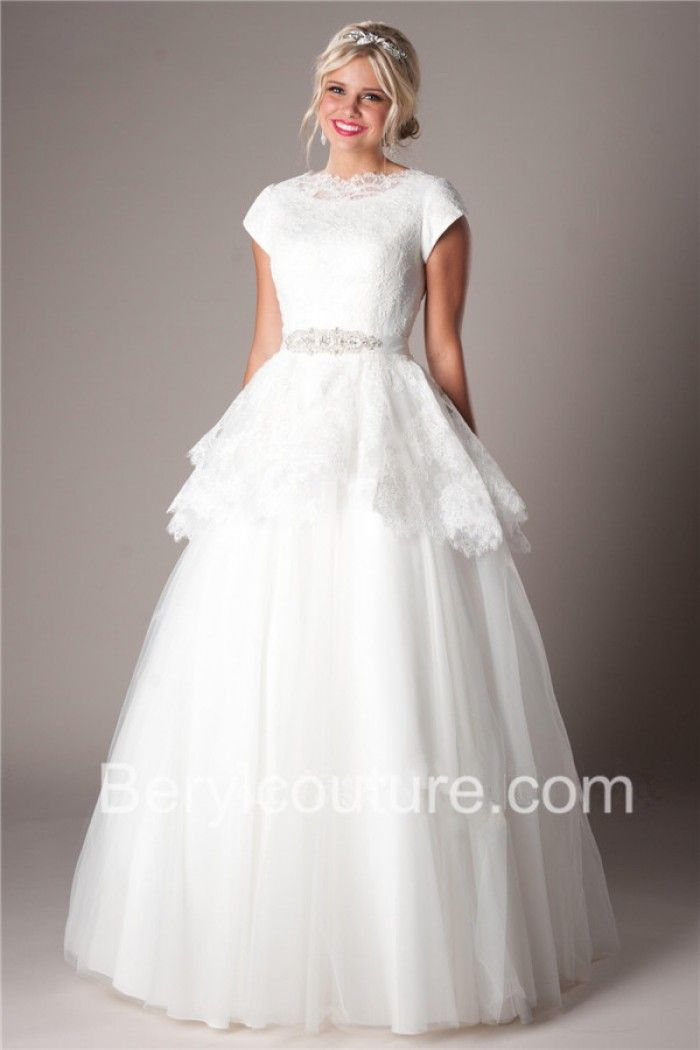 Superb Princess A Line High Neck Tulle Lace Sleeves Peplum Modest Wedding Dress With Crystal Sash