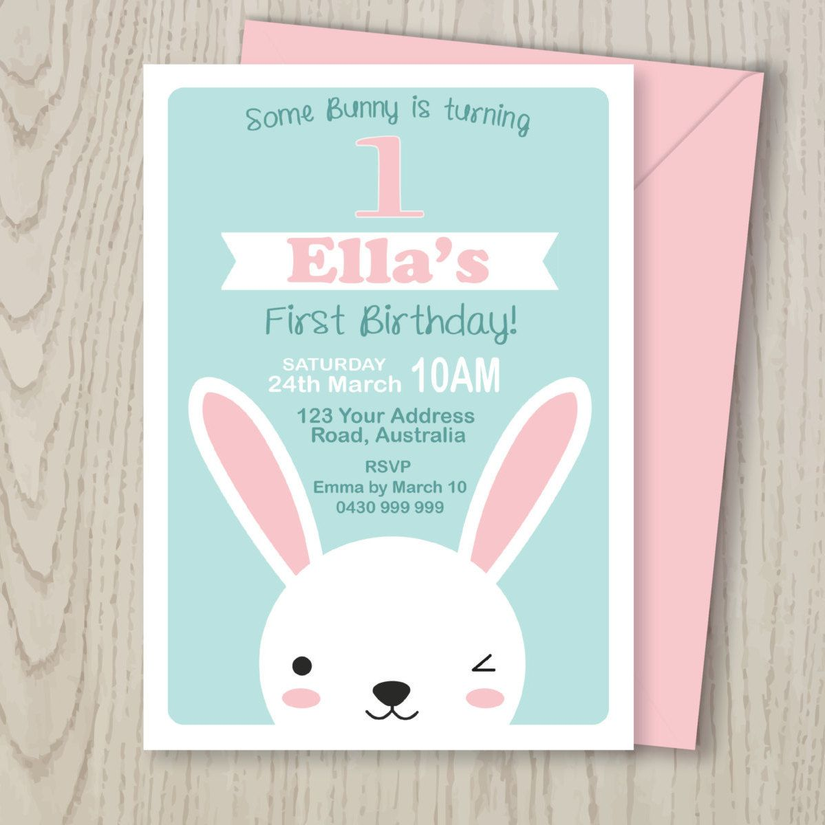 bunny rabbit woodland party invitation digital file for kids party