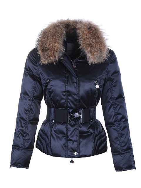 Moncler Fur Collar,Moncler Womens Fur Collar Down Jackets with Belts Blue -   194.65 Moncler Outlet Store www.monclerlines. 64adc154a9c