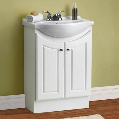 Dreamwerks 24 In W Standard Vanity In White Color With Ceramic Vanity Top In White With White Basin Mwt101 The Home Depot Small Bathroom Vanities Menards Bathroom Vanity Bathroom Vanity Base