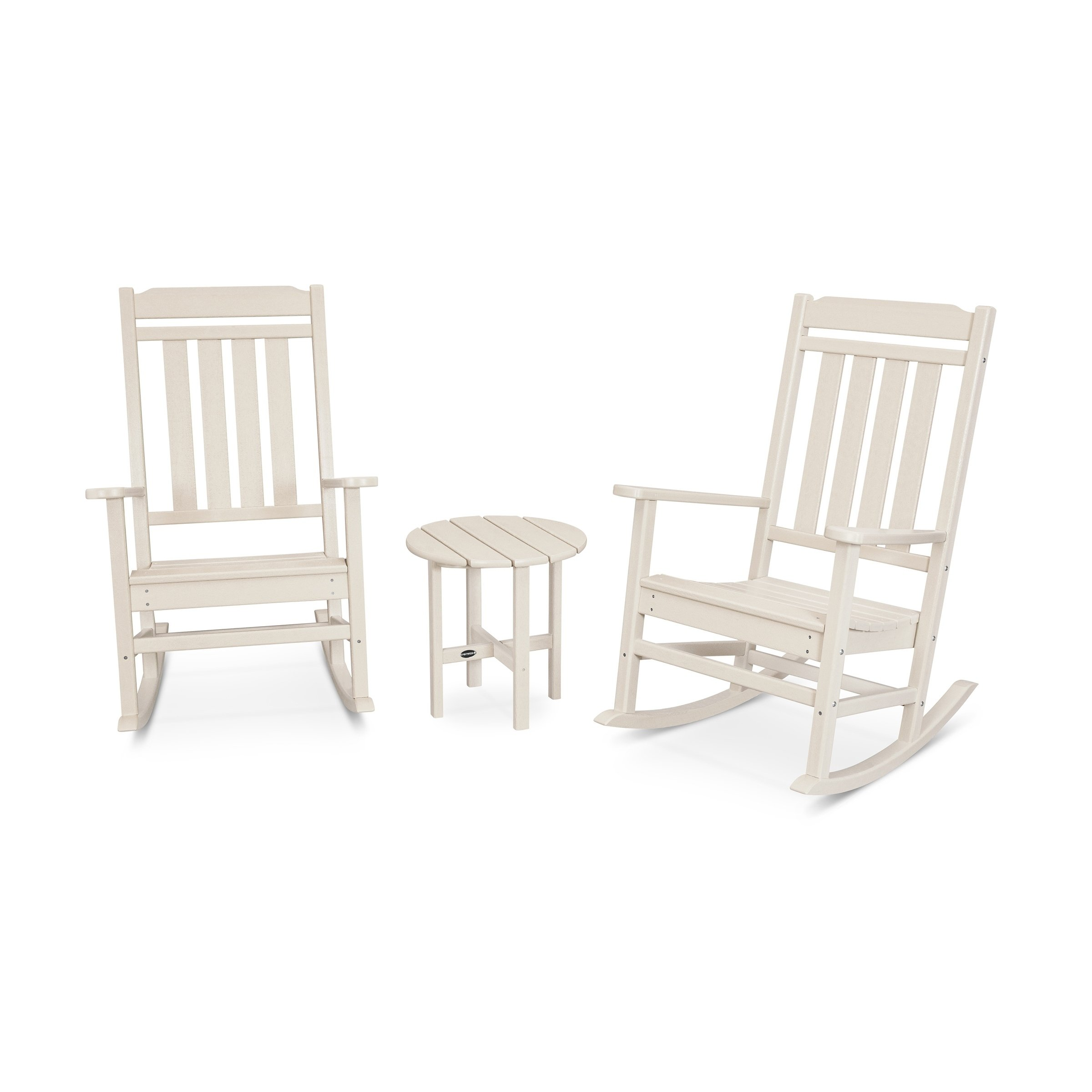 Kahala 3 Piece Porch Rocking Chair Set Assembly Required Beige Plastic Patio Furniture Rocking Chair Porch Rocking Chair Rocking Chair Set