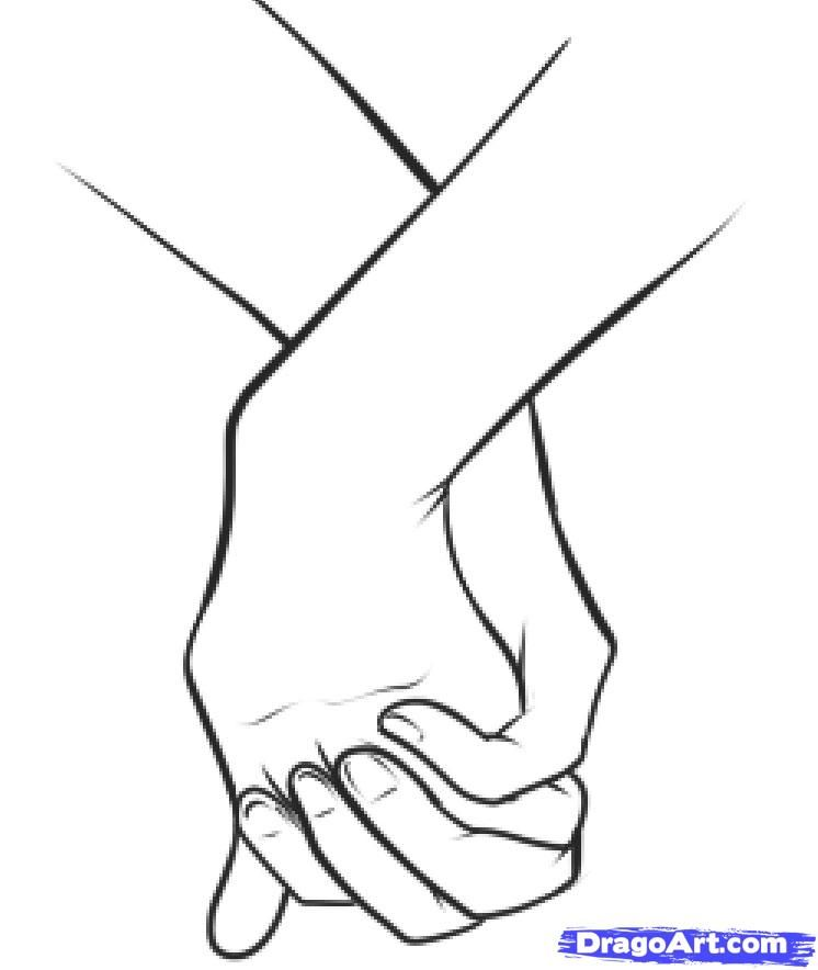 How to draw holding hands step 12