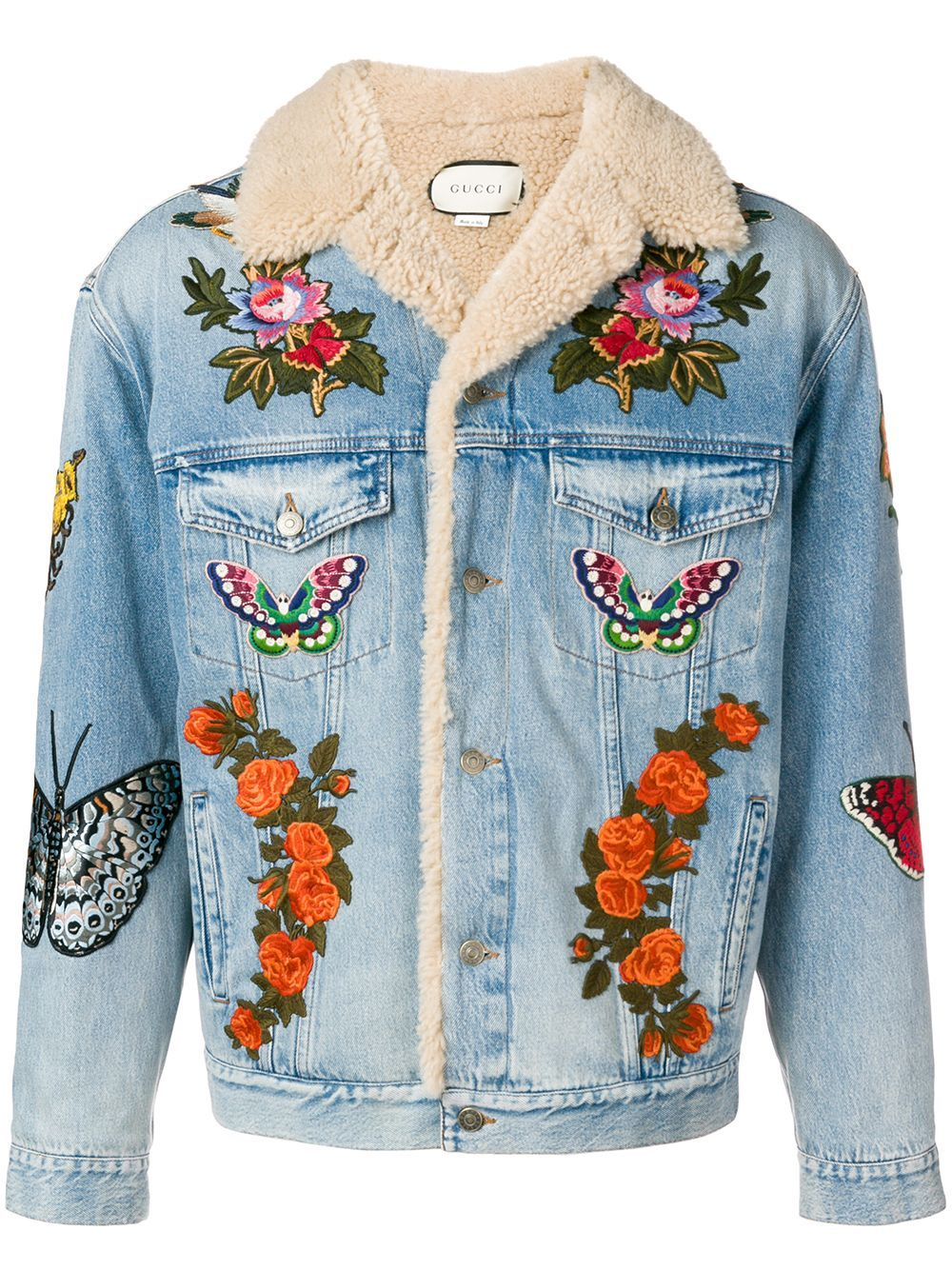 Gucci Embroidered Denim Jacket With Shearling Farfetch Embroidered Denim Jacket Vintage Embroidered Denim Embroidered Denim Jacket [ 1334 x 1000 Pixel ]