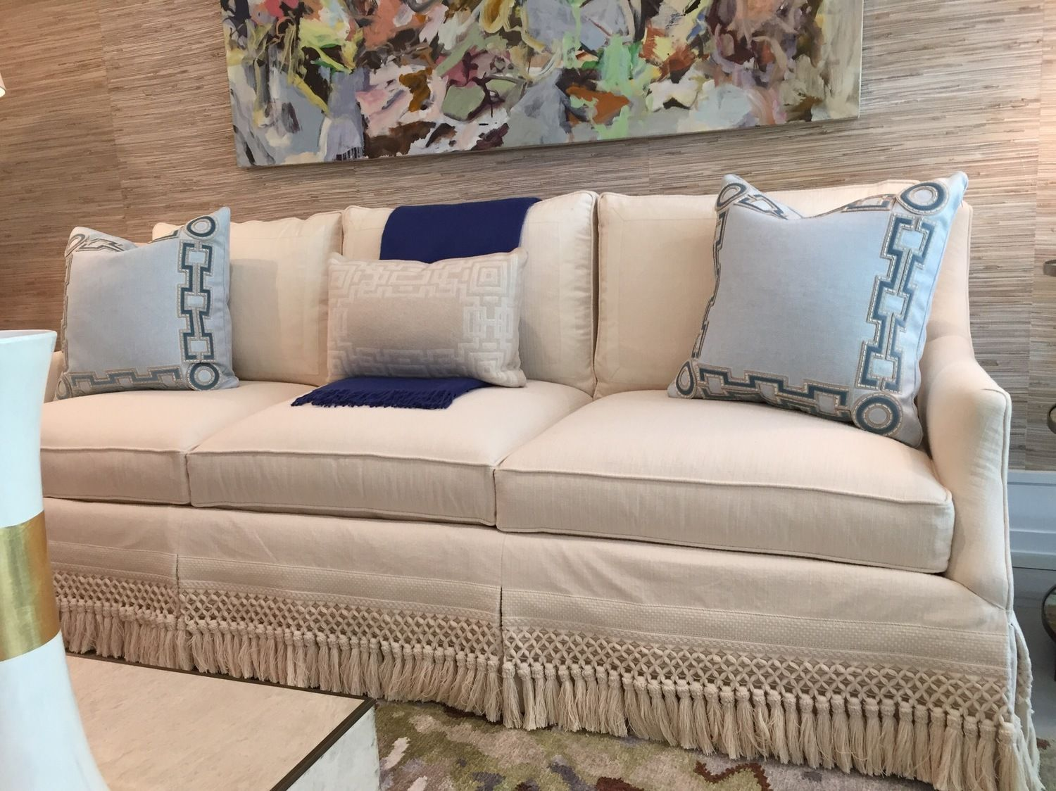 Cr Laine Sofa With Samuel And Sons Skirt Fringe Pillows By Holland Sherry Designed Elle Cole Interiors