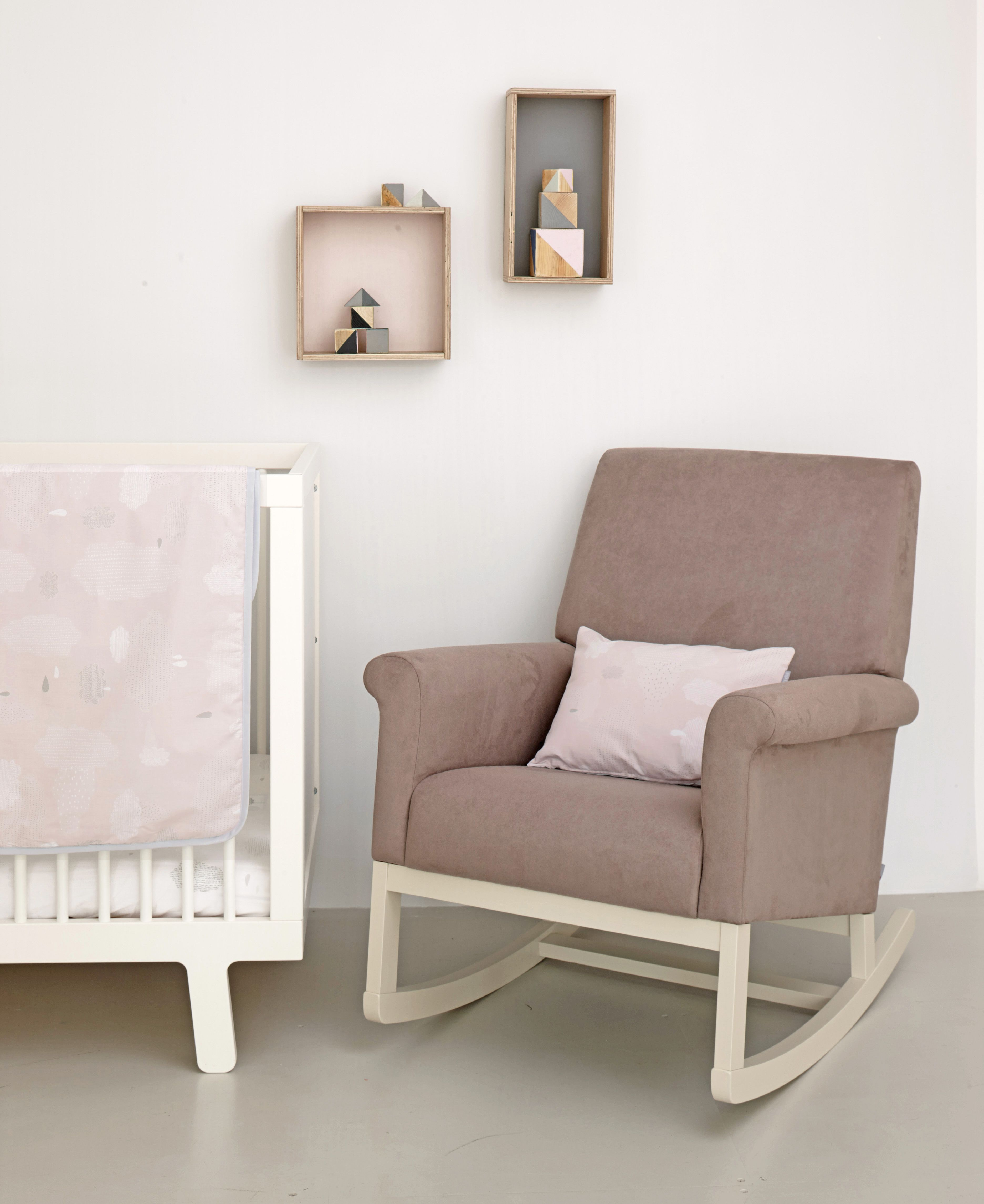 Olli Ella Roki Rocking Chair In Musk With Pitter Patter Bedding Lovely Stylish Nursing