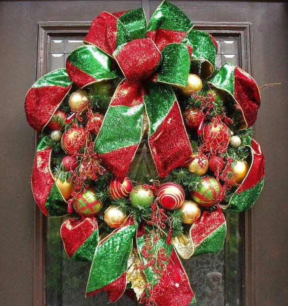 Christmas Wreath Ribbon Wreath Glitzy Wreath by LuxeWreaths, $16500