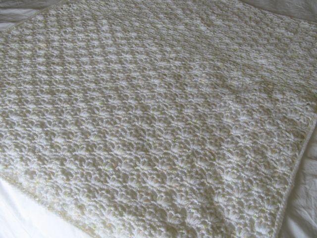 White Crocheted Puff Stitch Baby Blanket Crochet Blankets