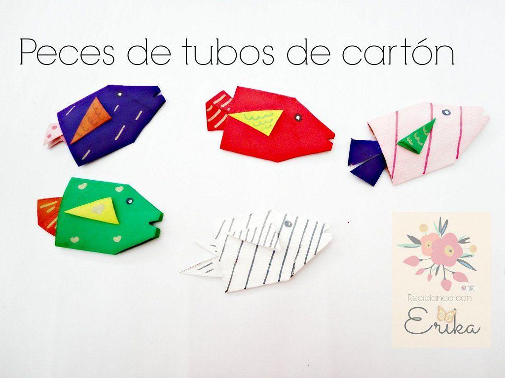 Manualidades con los peques peces con tubos de cart n - Manualidades de papel reciclado ...