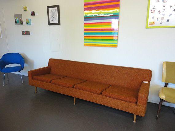 Mid Century Modern Vintage Sofa Upholstered Orange Tweed ...