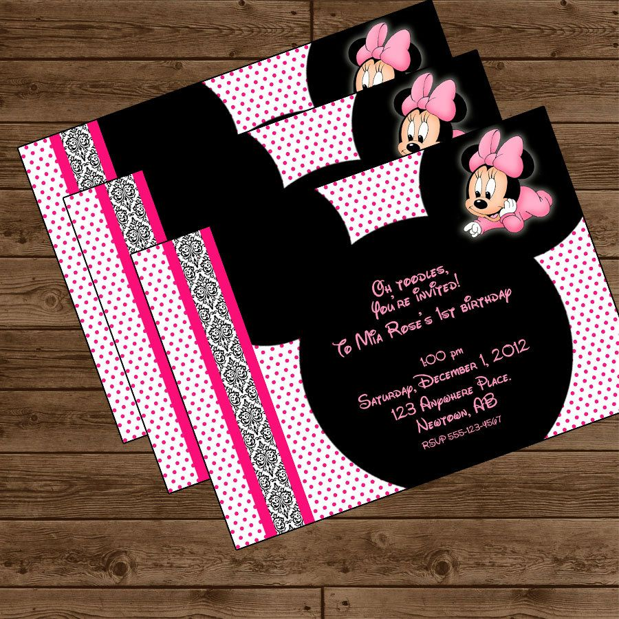 Baby Minnie Birthday Party Invitation Minnie Mouse Party Diy