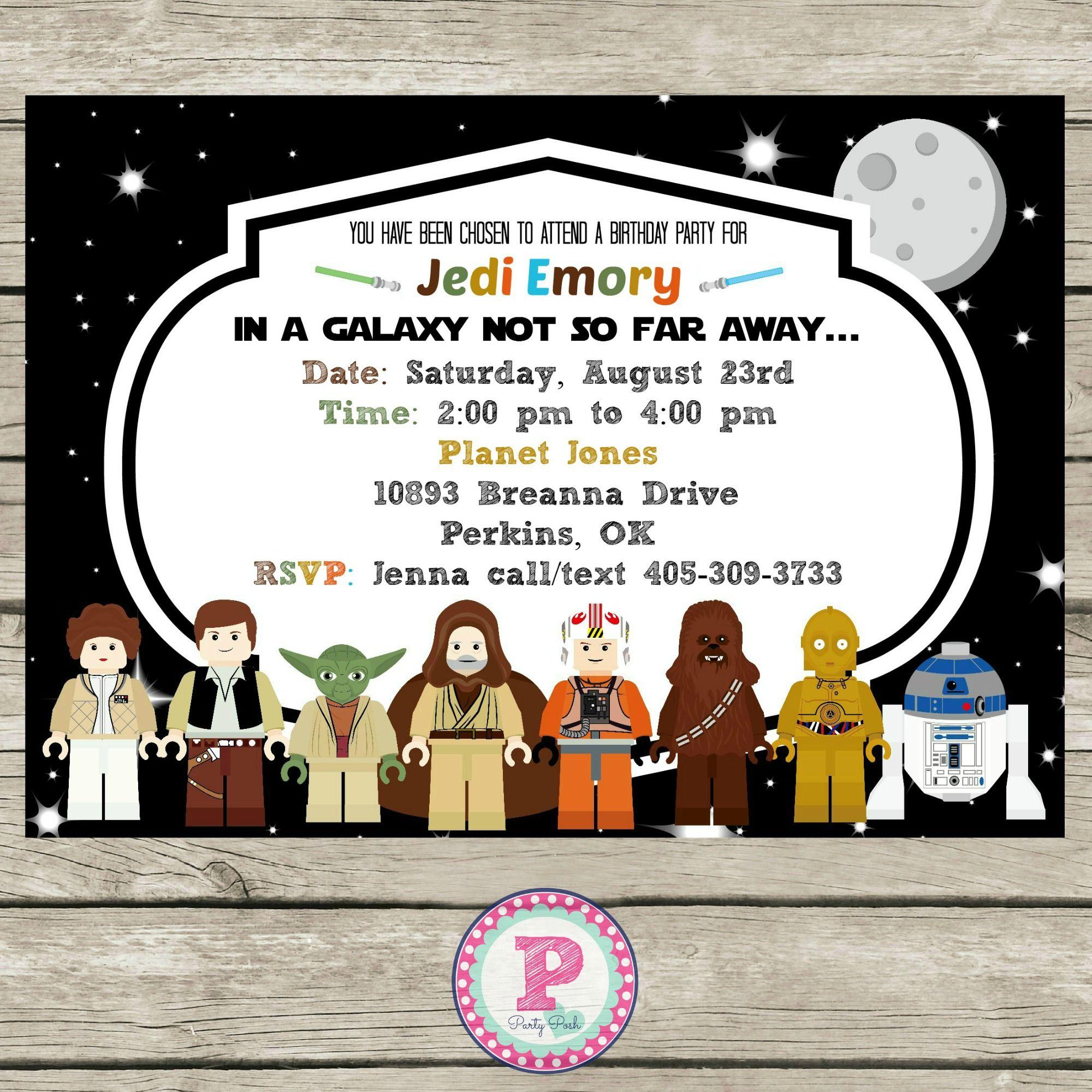 Lego Star Wars Birthday Party Invitation | Star Wars Party Ideas ...