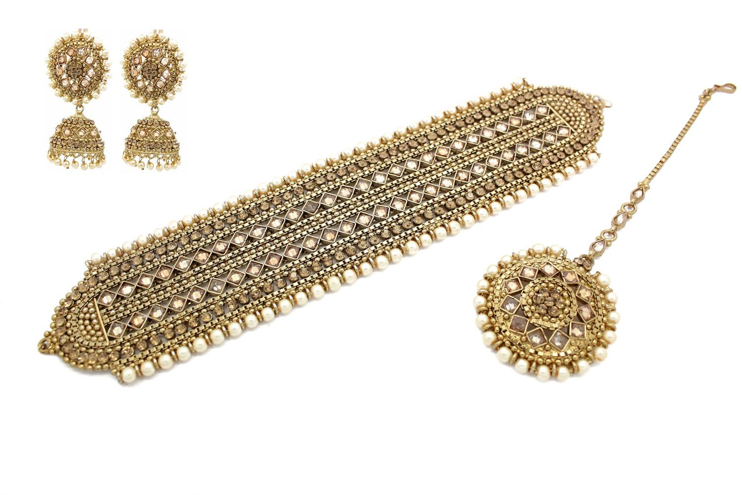 15dbeca0a Antique Gold Meenkari Kundan Necklace Choker Jewellery Set Tikka Earring Jewelry  Set