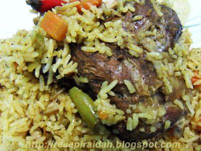 Resepi Raidah Nasi Kabsa Kambing Ayam Resep Makanan Makanan Arab Resep Daging