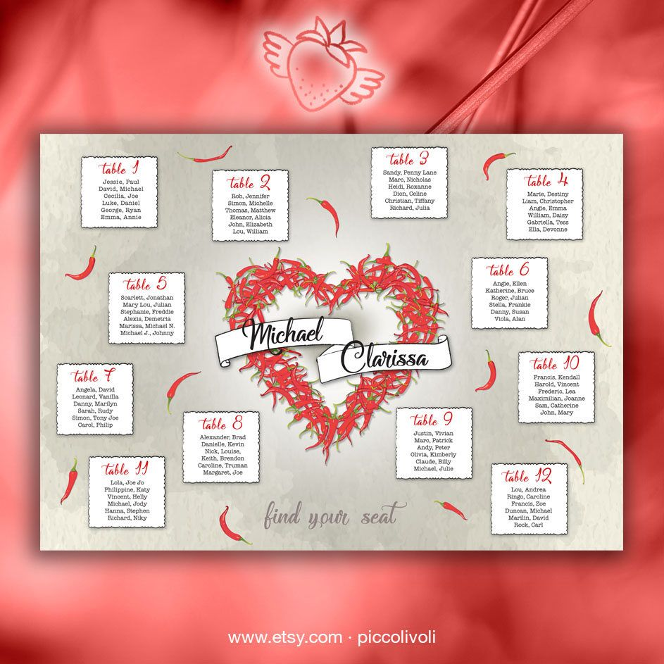 Tableau mariage Cuore Peperoncini - Wedding Seating Chart Heart ...