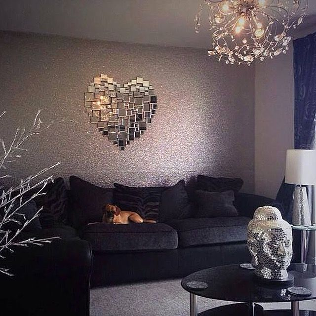 Love This Silver Glitter Wallpaper Feature Wall We Have Silver Hot Pink And Iridescent White Glitter Wallpaper Living Room Home Decor Glitter Paint For Walls