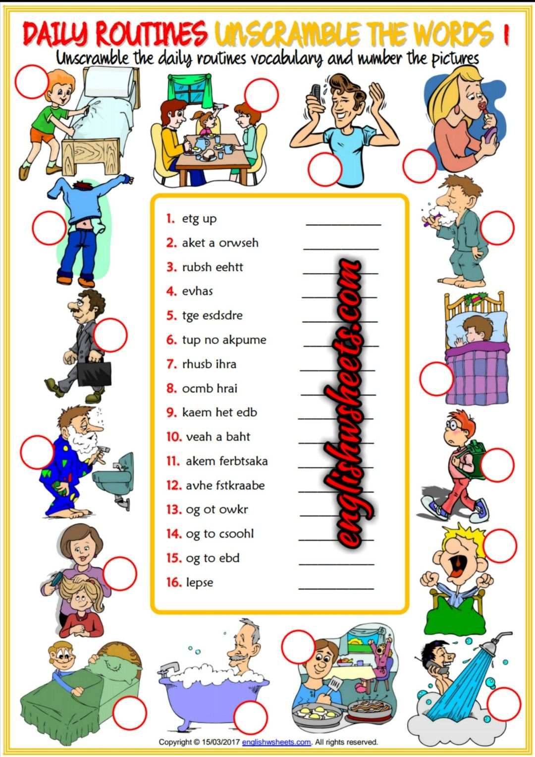 Daily Routines Esl Printable Vocabulary Worksheets In