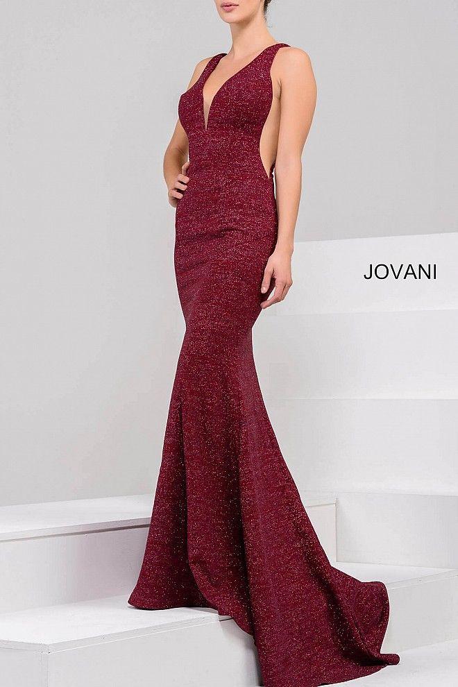 8d552519 Black Multi Glitter Jersey Plunging Neckline Prom Dress 45811 ...