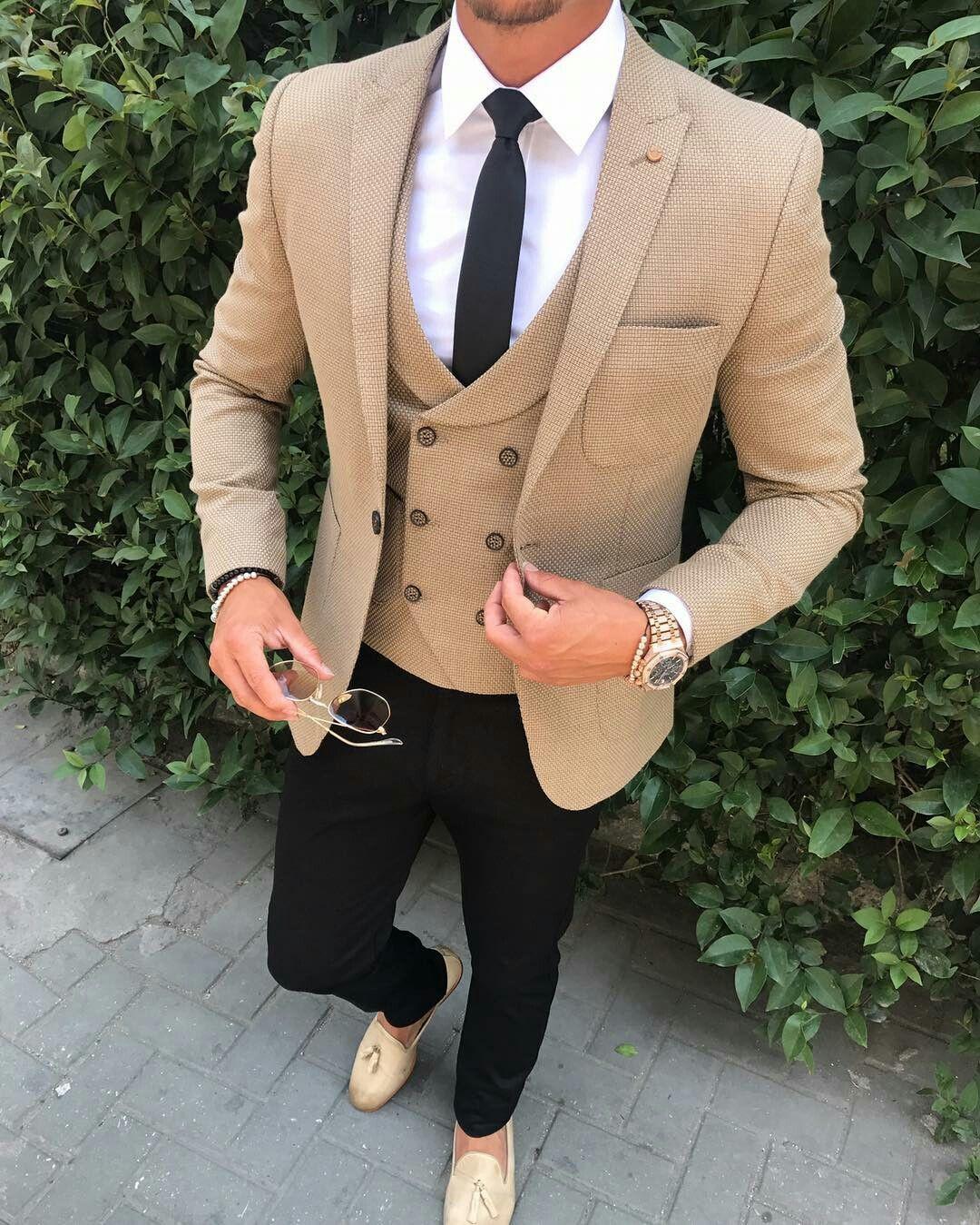 QZI Mens Suit Three Piece Jacket Dress Vest Plus Pants