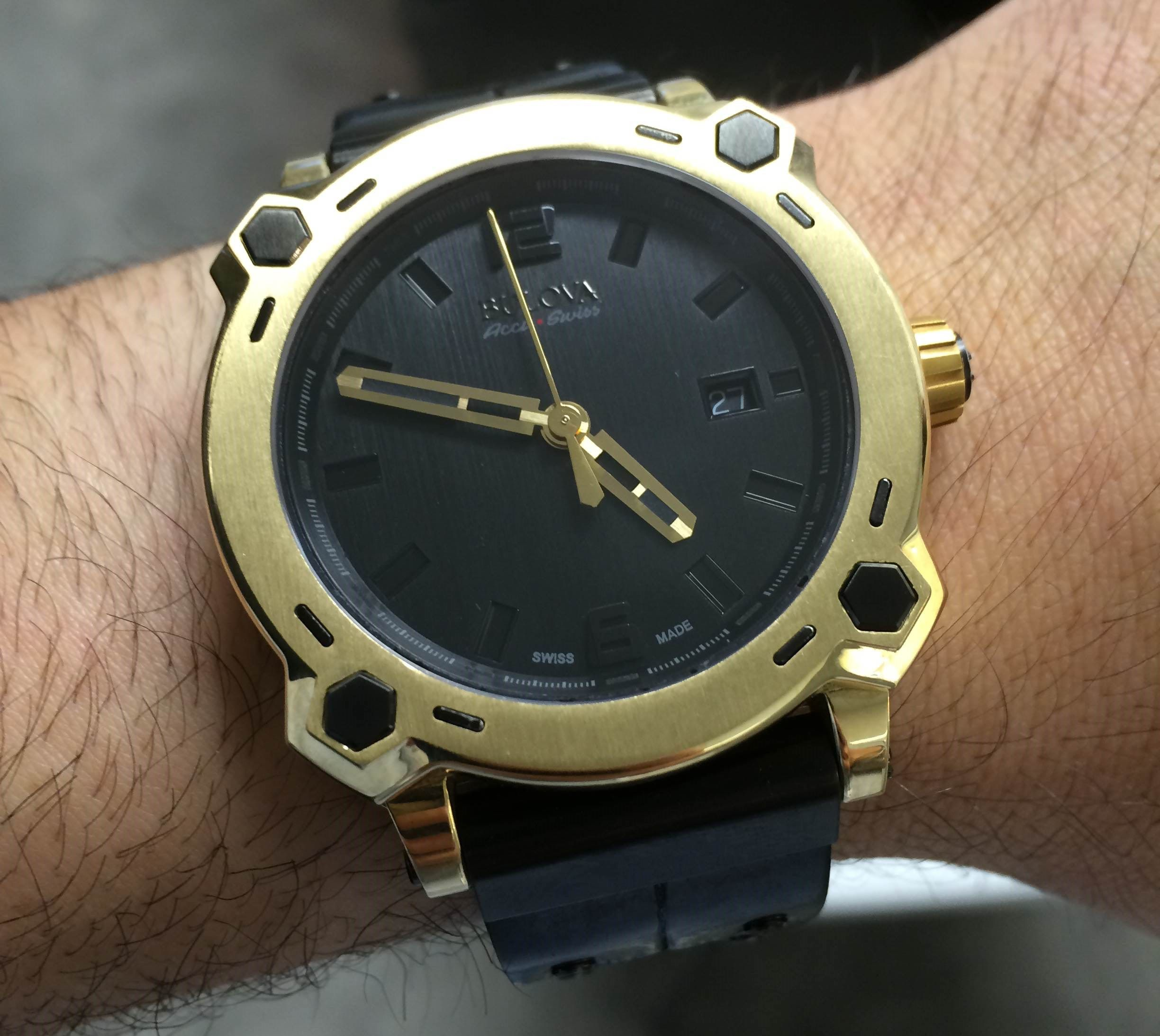 Baselworld 2014: Bulova Percheron On The Wrist - the brand's first ever 24k gold watch uses forged gold. 40mm wide, $40k - See more Bulova watches and keep up with our Baselworld 2014 odyssey on aBlogtoWatch.com - And don't forget to follow the flood of #ABTWBaselworld2014 photos and info on your favorite social media