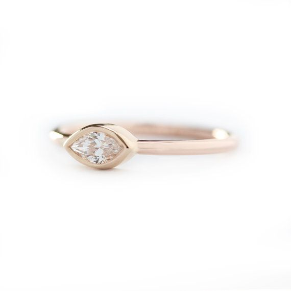 Marquise Diamond Engagement RingSimple And Elegant by KHIMJEWELRY