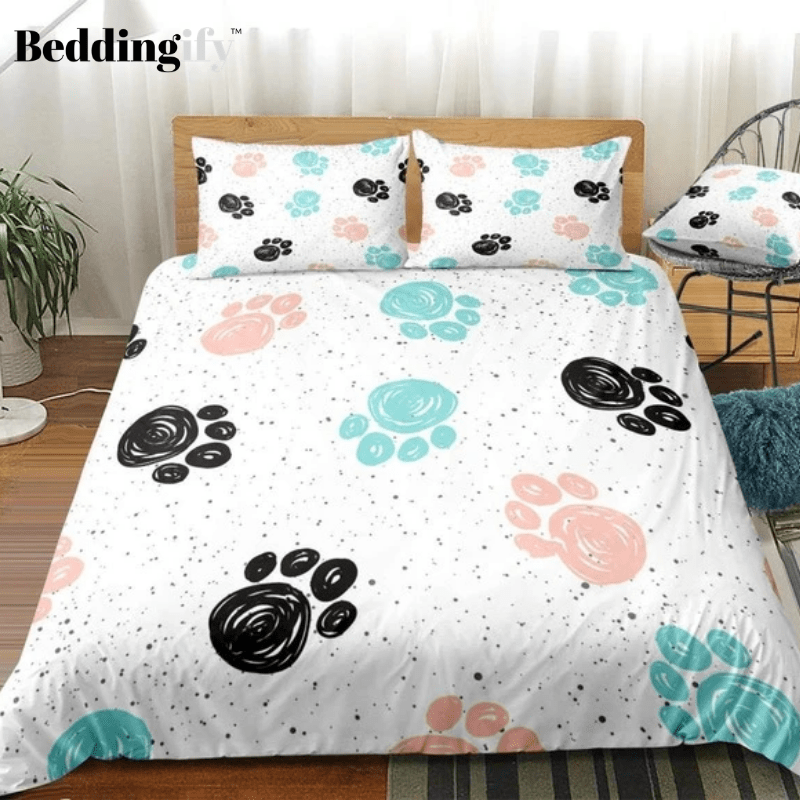 Cute Dog Drawn Paw Print Bedding Set In 2020 Print Bedding Duvet Covers Puppy Bedroom