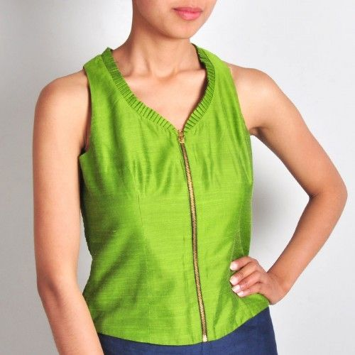 Lime Green Zippered Blouse #blouse #green #Tops