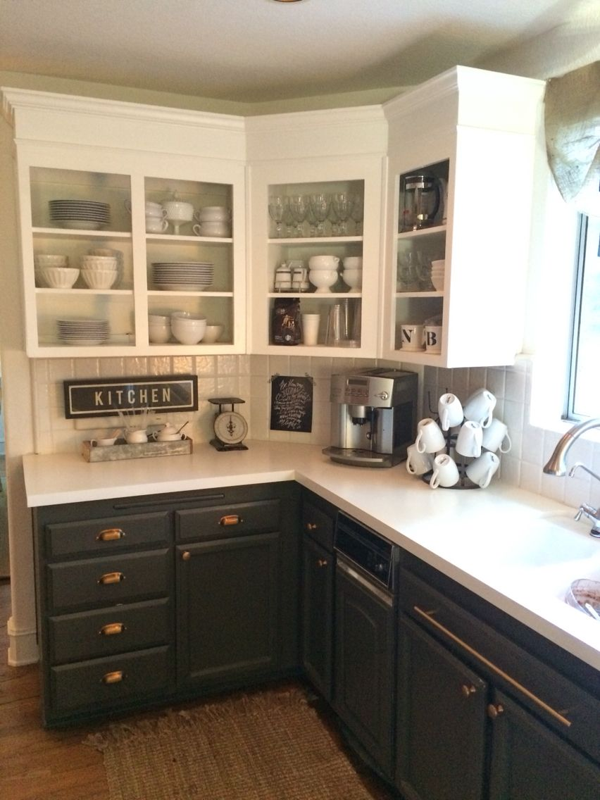 simply white upper cabinets, urbane bronze lowers with antique