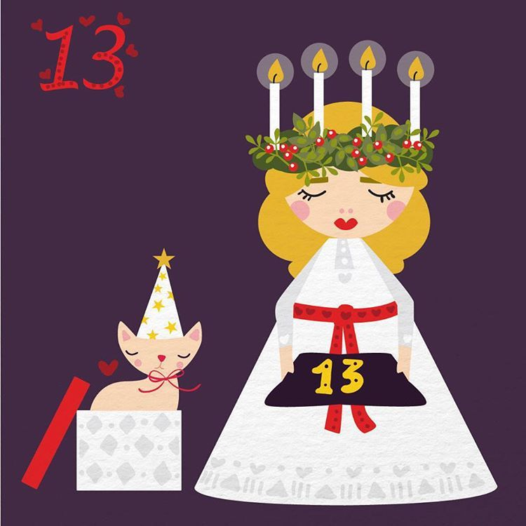 Day 13 in my illustrated advent calendar is dedicated to my favorite tradition Lucia :) It also happens to be the day when I met my husband, 7 years ago. We are on mini-holiday in Santa Barbara, happy Lucia everyone. #illustrationoftheday #illustratedadvent #lucia