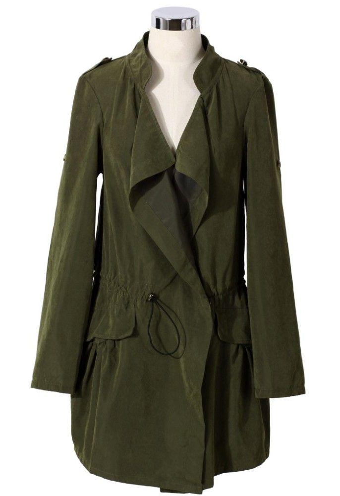 4f960c0ed5532 Khaki Draped Trench Coat