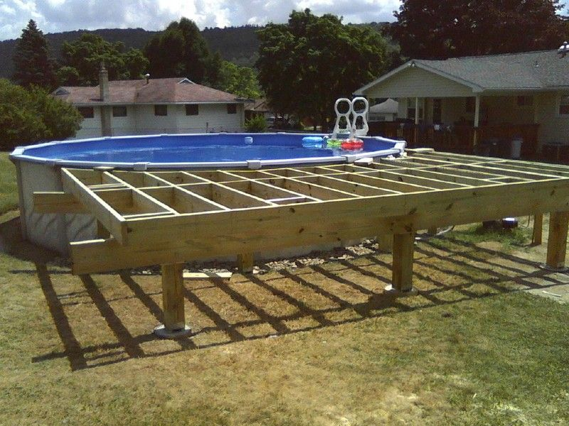 Above Ground Pool Deck Framing | AGP deck question. 17\'9 wide deck ...