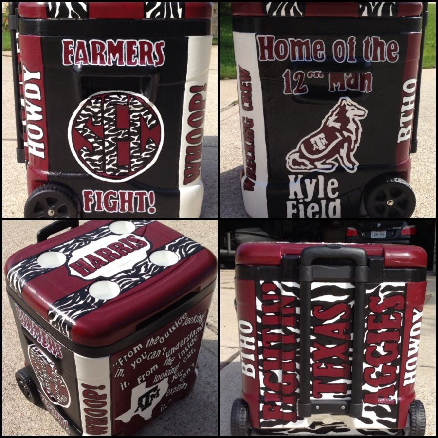 Texas A M Themed Painted Cooler Sweethomesouthern Etsy Com Aggie