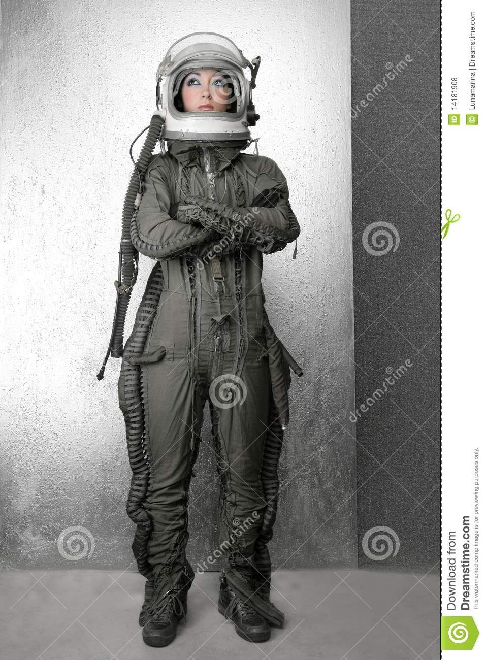 Astronaut fashion stand woman space suit helmet 14181908 for Female space suit