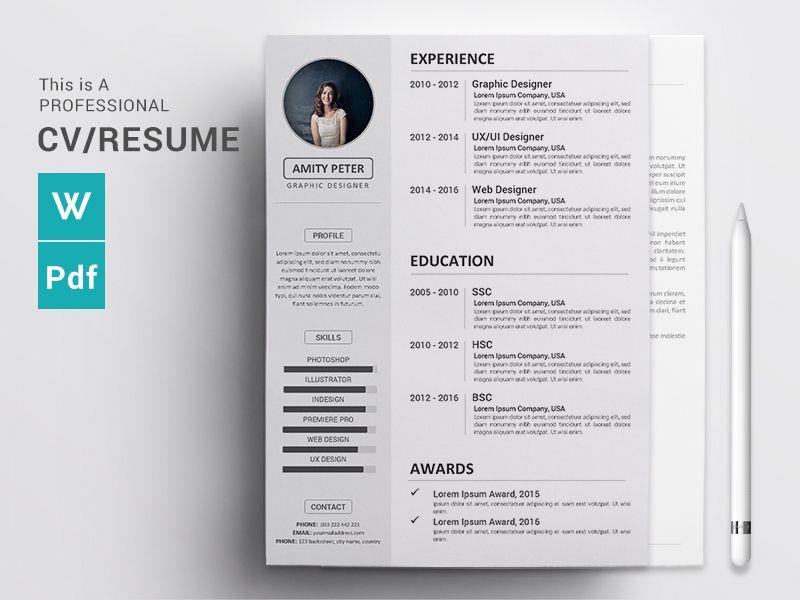 Cv Resume Concept Design Cv Resume Word Docx Download Resume Words Cv Words Free Cv Template Word