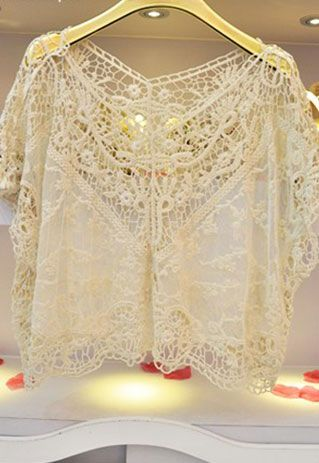 [grzxy6601112]Crochet Lace Mesh Top Stretch Loose Pullover Cape | cheershop - Clothing on ArtFire