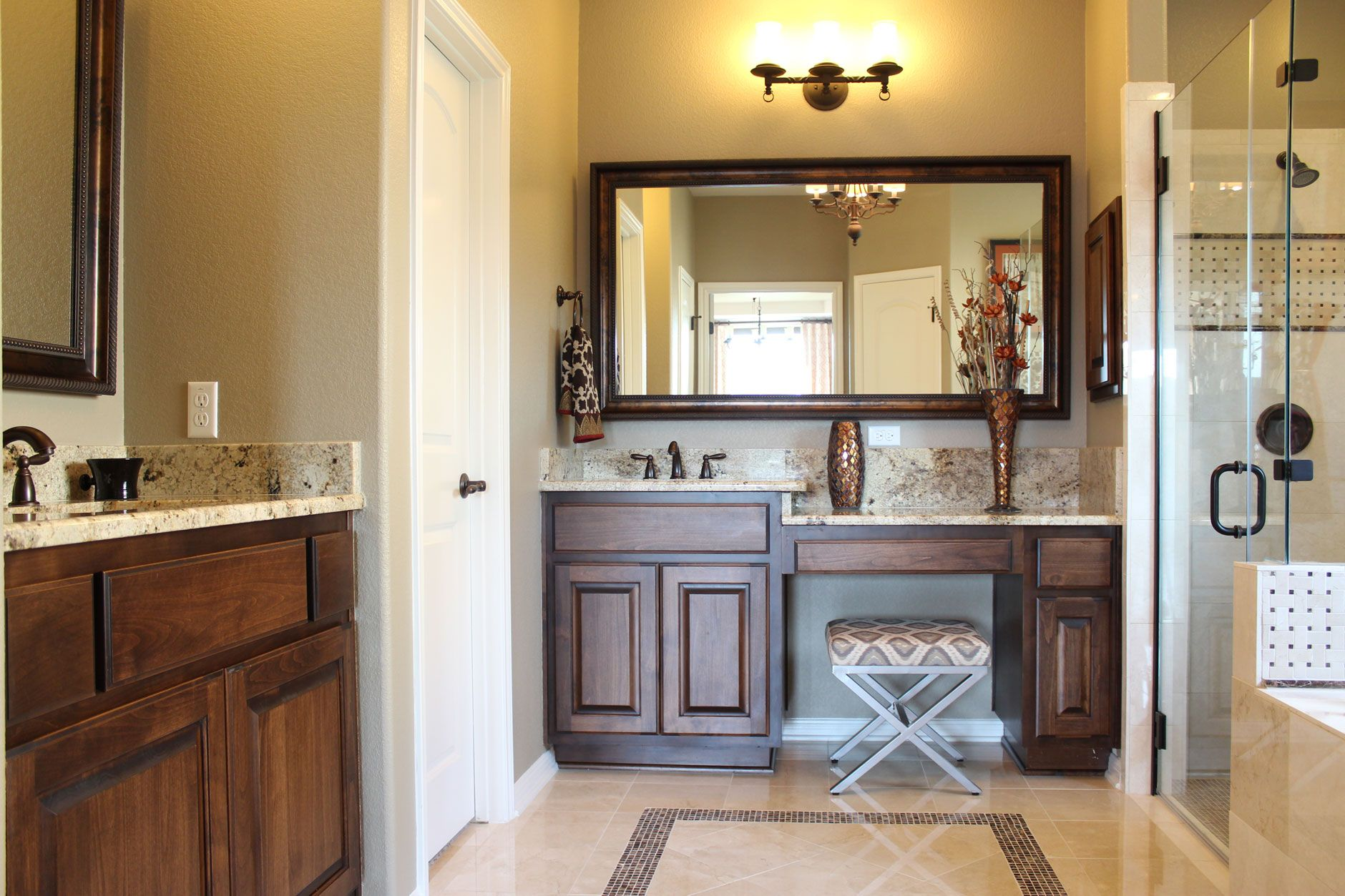 Burrows Cabinets Master Bath In Stained Alder And Bumped