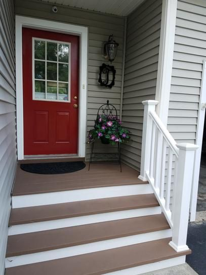 Veranda Traditional 6 Ft X 36 In White Polycomposite Stair Rail   Veranda Traditional Stair Railing   Porch Deck   Composite   Porch Railing   Angle Bracket Kit   Composite Decking