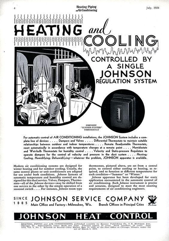 Johnson Heat Control Thermostat. 1934 Heating and