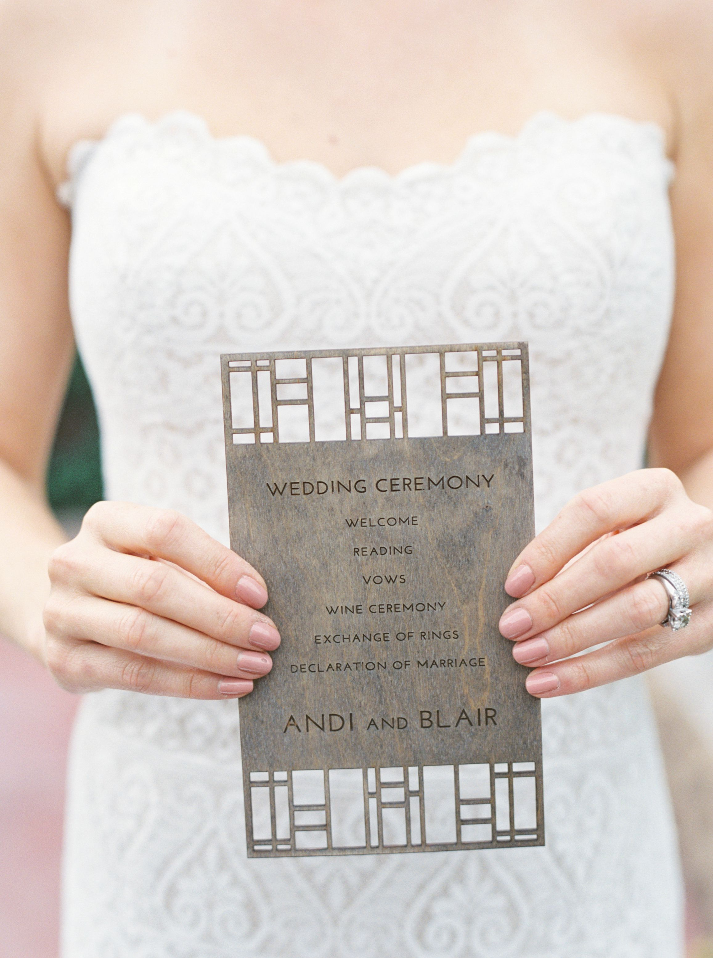 Destination weddings Wooden program inspired by Frank