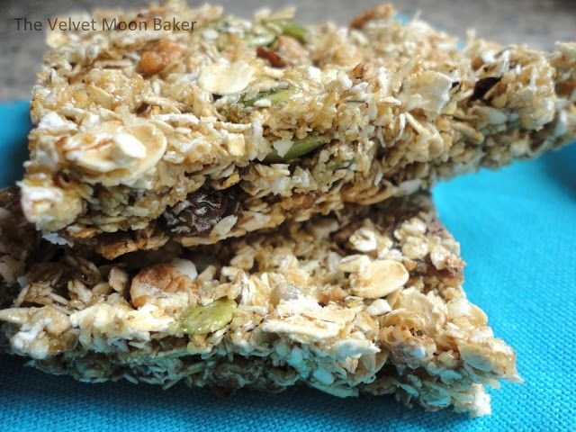 A simple two ingredient recipe for Muesli Bars, recipe on thefrugalfoodiemama.com courtesy of The Velvet Moon Baker