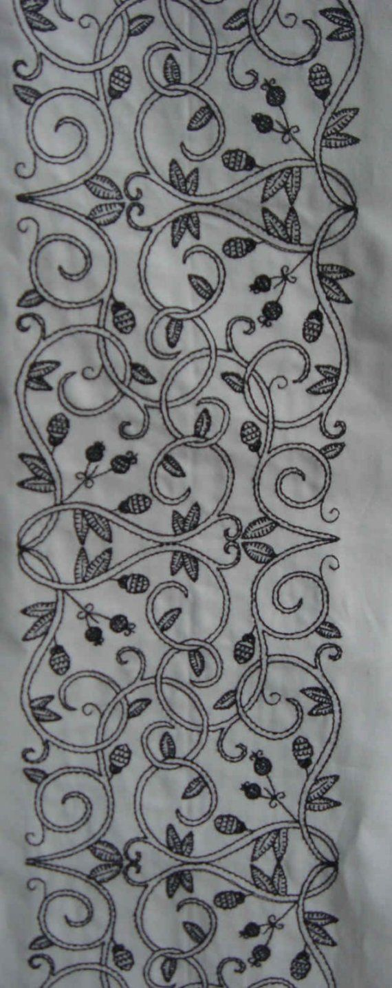 Custom madetomeasure cotton chemise with blackwork embroidery